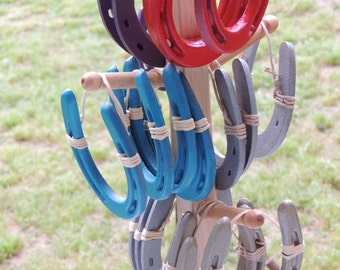 Painted horseshoes - party favor - wedding favor -  Pony size horseshoes wrapped in twine covered wire to hang - good luck home decor, barn