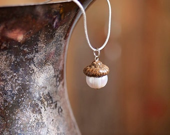 Real Acorn PENDANT with Freshwater Pearl + Sterling Silver handmade by Nuttier Than A Squirrel - oyster, sea, ocean, cream, wedding, beach