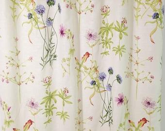 linen shower curtain covington floral shower curtain custom shower curtain 72x 84 72 x 96 long