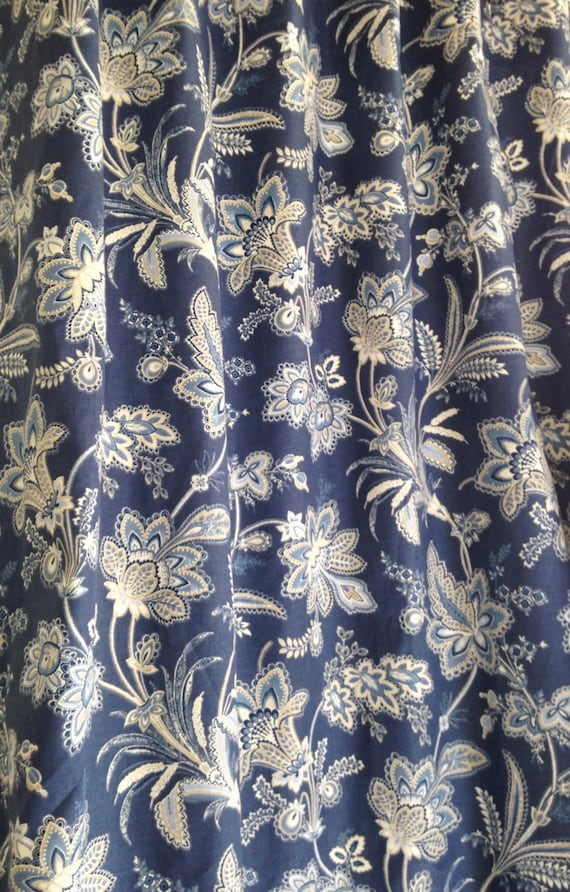 Custom Fabric Shower Curtain Waverly Barano Indigo Blue White