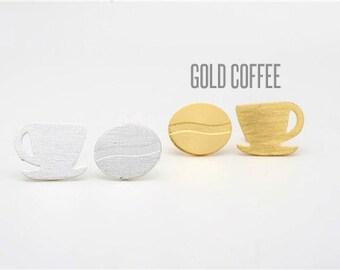 Gold Coffee Cup Stud Earrings, Coffee Cup Earrings, Coffee Cup Jewelry, Gold Coffee Cup earrings, Coffee Cup Studs, Coffee Lover Gift