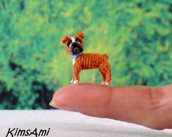 Mini Boxer dog - hand made crochet amigurumi figurine.