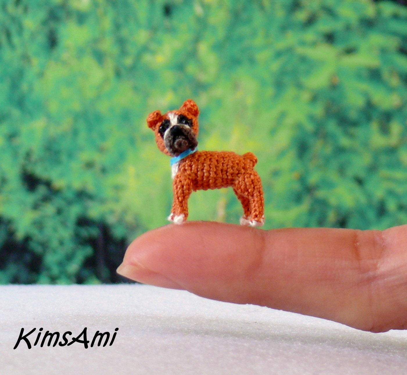 Amigurumi Boxer Dog : Mini Boxer dog hand made crochet amigurumi figurine.