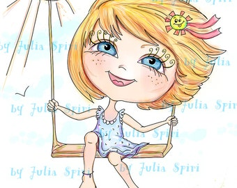 INSTANT DOWNLOAD Digital Stamps, Childrens stamps, Digi Stamp, Scrapbooking printable, Summer, Coloring page, Line Art. Girl on a Swing.
