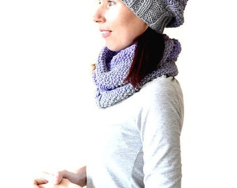 Ombre knit hat Ombre knit scarf Ombre knit beanie Ombre knit set Ombre slouchy beanie Knitted set gray Hat scarf set Hat cowl set Gift woman