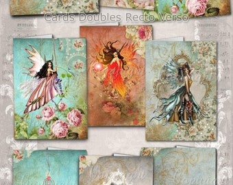 SHABBY CHIC FAIRIES - fairy garden - Digital Collage Sheet, Printable Cards, Scrapbook, Greeting Cards, Journaling, Instant Download