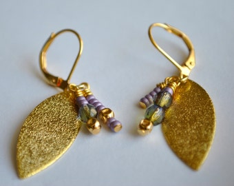 Lilac and Green Gold Leaf Earrings