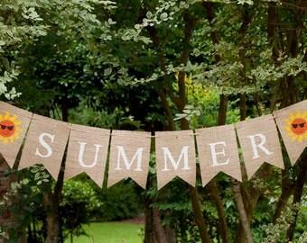 Summer Banner, Summer Decor, Summer Burlap Banner, Summer Sign, B144