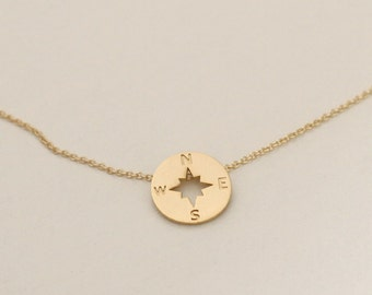 graduation gift, tiny Gold Compass necklace, Minimalist nautial necklace, unique pendant, Birthday Gift, Dainty Necklace, Compass jewelry