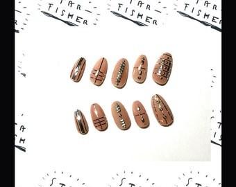 ELEGANT METALLIC - press on nails, studded nails, fales/fake nails, gel nails