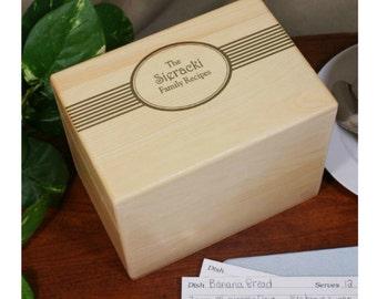 Engraved Family Recipes Oak Recipe Box