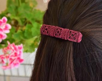 Purple Crochet Hairclips
