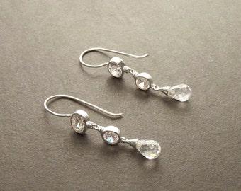 Zirconias Chandelier Earrings - Hook Earrings - Sterling Silver Drop Earrings - White Cubic Zirconia - Long silver earrings - Teardrop