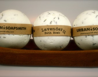 3 Lavender Bath Bombs, Bath Fizzy, Set of 3, All Natural Bath Bomb