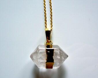 Semi Precious Prism Clear Quartz Crystal Pendant on Gold Fine Chain Necklace