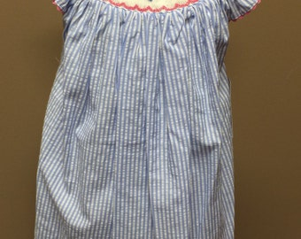 Seersucker smocked sail boat anchor dress In Stock Ready to Ship Next Day!