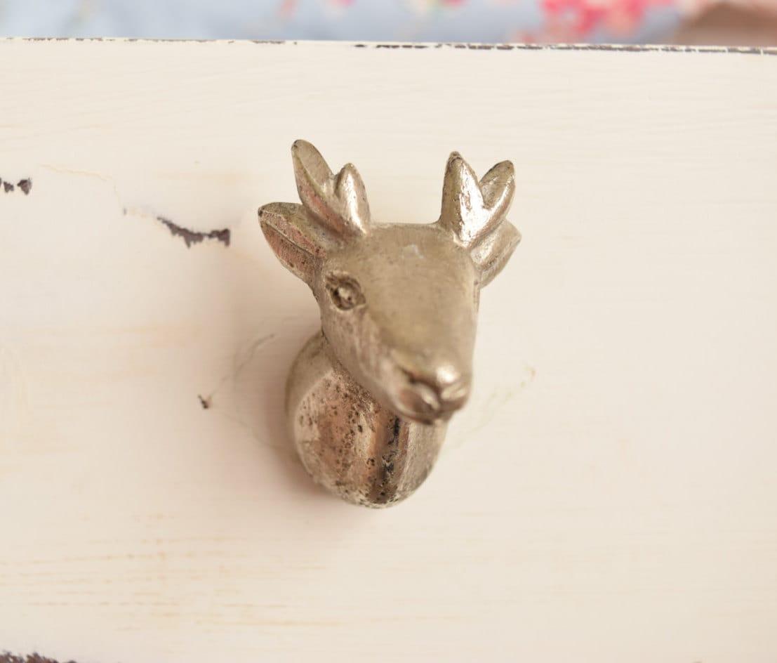 Deer Head Antlers Drawer Knobs in Silver Deer Mount Antler