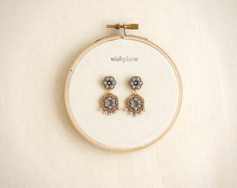 GOLD & GRAY dangle earrings / pearl drop earrings / handmade jewelry / hypoallergenic earrings / wishpiece