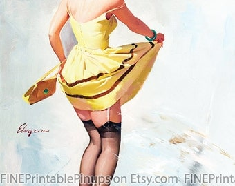 "Vintage Pinup Art Girl //  ""Rain Splash"" by Gil Elvgren // 32""x41"" Digital Download // Easy to Size Down//"