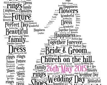 Personalised Wedding Word Art - Bride & Groom design - Digital File