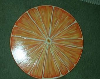 Hand Painted Wooden Lazy Susan, Orange Slice