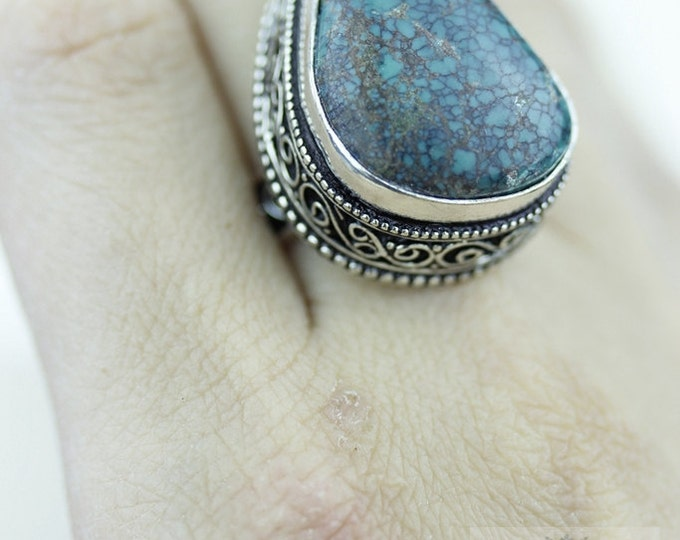 Size 8 - Genuine TIBETAN TURQUOISE 925 S0LID (Nickel Free) Sterling Silver Vintage Setting Ring & FREE Worldwide Express Shipping R1736