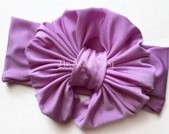 Lavender Baby Turban Headband, Bow Head wrap, Boho headband, Lavender Bow, Lavender Headband, Lavender Messy Bow Headwrap