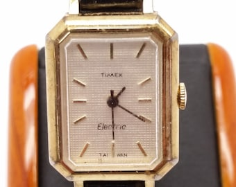 Timex Electric Watch - Ladies' Rectangular Watch - Goldtone with Black Leather Strap - Not Running