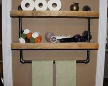 Industrial pipe shelf, Bathroom shelves, Kitchen shelves, Shelving unit, Free Shipping, Entryway shelf, Storage shelf, #ReclaimedWoodUSA