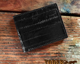 Genuine Black Eel Skin Leather Bifold Wallet - Amish Made in the USA