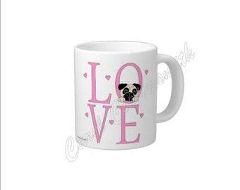 LOVE Pug Mug, 15 oz