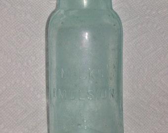 1903 Aquamarine Glass Milks Emulsion Bottle Rare Find!