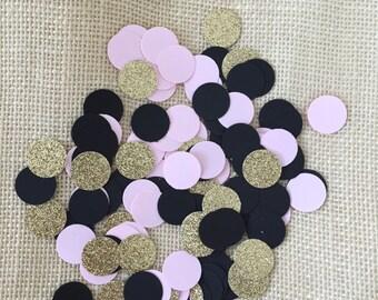 Bridal Shower Decorations, Gold, Black, Pink Decor, Circle Confetti, Gold Glitter Confetti, Table Decor, Wedding Decor, Birthday Decor
