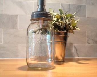 Mason Jar Soap Dispenser, Quart Size Vintage Jar with Lid & Pump