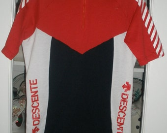 Womens Vintage Descente Cycle Cycling Biking Jersey Two Back Pockets Large