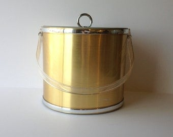 Ice Bucket Georges Briard Gold Metallic with Silver Trim Ice Bucket / Mad Men