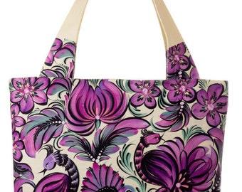 Floral Printed Bag  Bag with Ornament  Floral Handbag  Floral Tote Bag  Floral Shopper Bag  Violet Handbag  Canvas Tote Zip Tote Bag