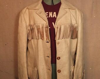 1940s Women's Californian Fringe Western Vintage Leather Jacket