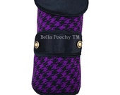 Purple & Black Couture Houndstooth Dog Coat with 24K Gold Buttons by Bella Poochy TM