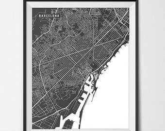 Barcelona Map Art Print, Barcelona City Map of Barcelona Art Poster of Spain Map University of Barcelona Art Grad Gift Dorm Art