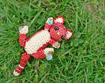 Kitty in handmade/ Beaded cat/ Red kitty doll/ Kitty do Beadwork/ Beadwoven/ Red cat/ Dolls animals/ Collectibles cats/ coupon codes