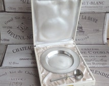 Set a plate and a small spoon baby in silver plated metal