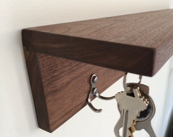 Modern Coat Rack with shelf, choice of Hardwood and hook style with 2 key magnets by KrovelMade