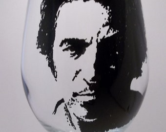 """Bruce Springsteen, """"The Boss"""", Hand painted glass, Painted wine glass"""