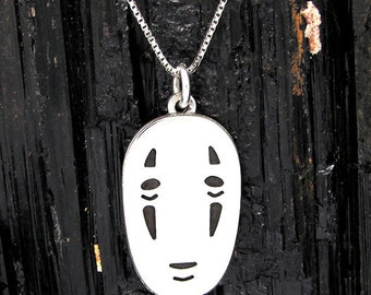 """No face"" pendant in 925 Silver, ""No-face"" Sterling Silver Pendant"