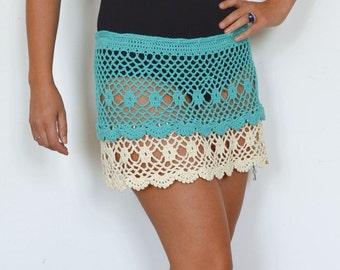 Crochet skirt blue skirt cotton lace skirt white boho skirt beach mini skirts lace skirt hippy festival skirt crochet white skirt cover up