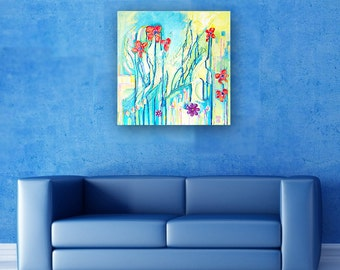 Textured flower painting on canvas, ready to hang, abstract floral, mixed media and acrylics, 3D original handmade picture, colorful art
