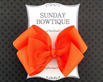 Orange Hair Bow, Orange Hairbow, Orange Boutique Bow, Orange Bow, Halloween Hair Bow, School Uniform Bow, School Hair Bow, Hair Bow