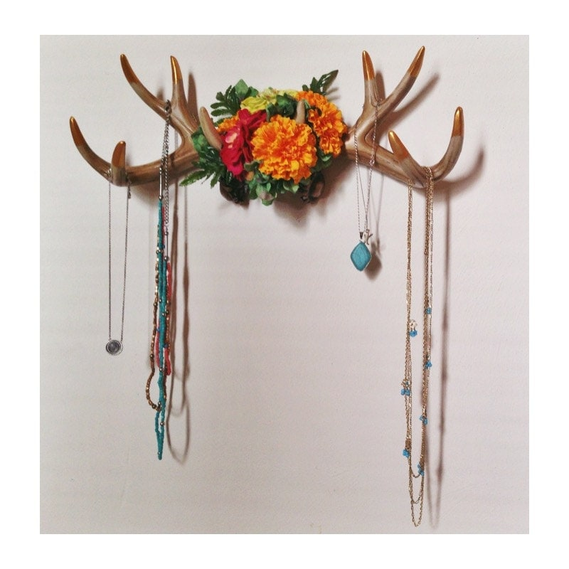 Custom floral antler wall decor and jewelry hanger for Antler wall decor