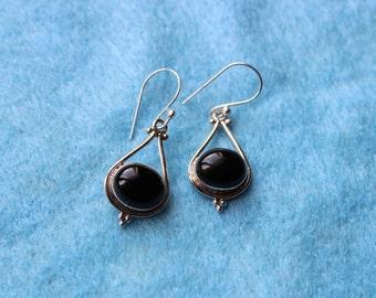 Black Oval Gemstone Earrings